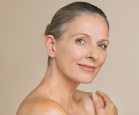 HydraFacial treatment, 50+ model 03, beautiful face, Inigo Cosmetic